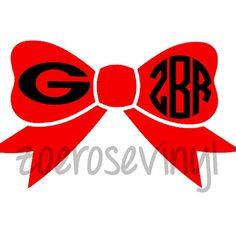 Georgia Monogram Bow Decal by ZoeRoseVinyl on Etsy