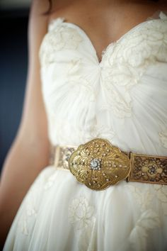 lace wedding gown with gold antique belt
