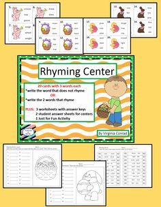 Easter themed task cards and worksheets for rhyming words practice