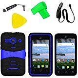 Heavy Duty Hybrid Phone Cover Case Cell Phone Accessory + Car Charger + Screen Protector + Extreme Band + Stylus Pen + Pry Tool For Alcatel Onetouch Pixi PULSAR LTE A460G (S-Hybrid Black Blue)