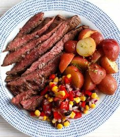 Seared Skirt #Steak with Corn Salsa and Lime Potato Salad | plated.com #recipe