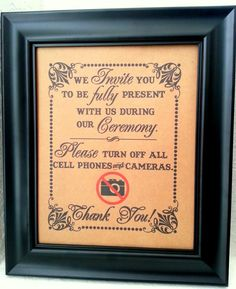 8 x 10 Turn Off All Cameras and Cell Phones- Wedding Print / Sign - Ceremony Sign - Single Sheet (Style: NO CAM) on Etsy, $10.00