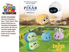 Best of Pixar Tsum Tsum Collection - Featuring Wall-E and A Bug's Life