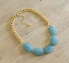 Ocean Blue Single Strand Statement Necklace on Chunky Gold Chain, Teal Statement Necklace