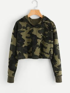 To find out about the Camo Print Crop Hoodie at SHEIN, part of our latest Sweatshirts ready to shop online today! Teenage Outfits, Teen Fashion Outfits, Mode Outfits, Outfits For Teens, Casual Outfits, Girl Outfits, Fashion Dresses, Cute Camo Outfits, Fall Fashion