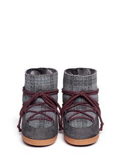 IKKII - 'Scottish Low' tartan felt lambskin shearling boots | Grey Flat Boots | Womenswear | Lane Crawford - Shop Designer Brands Online