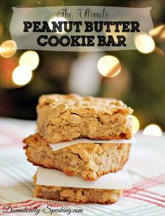 The Ultimate Peanut Butter Cookie Bar Recipe - loaded with peanut butter goodness - it's chewy and delicious.