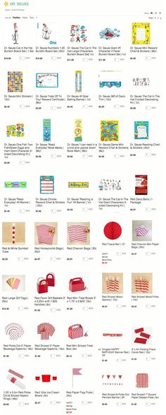 TONS of inexpensive DR SEUSS PARTY SUPPLIES! Perfect for birthday's, school classrooms or parties, baby showers & more! Kara's Party Ideas Shop | KarasPartyIdeas.com/shop