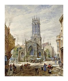size: Giclee Print: All Saints Pavement, York by Louise Ingram Rayner : Artists Vintage Artwork, Framed Artwork, Art Commerce, Northern England, Art Uk, Watercolor Landscape, Watercolour Painting, A4 Poster, Posters
