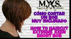 Como cortar un cabello BOB corto inclinado. How to style a short bob. Tu...