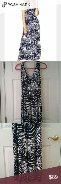 "LILLY PULITZER SLOANE MAXI DRESS OH CABANA BOY SM LILLY PULITZER ""OH CABANA BOY"" SLOANE MAXI DRESS.  NAVY BLUE & WHITE, ZEBRAS & STRIPES. EMPIRE WAIST (VERY FLATTERING!)  *Colors are white & navy*  SIZE: SMALL  VGUC: Very Good Preowned Condition! At the top of the straps, teeny fuzz wear, NO Pilling; Same with the armpits (See Pics!)  Gently Laundered & No Dryer.  96% Rayon & 4% Spandex  FAST SHIPPING! Same Or Next Day Shipping!!  No Smoking, Buy It Now, Bundle Discounts Available…"