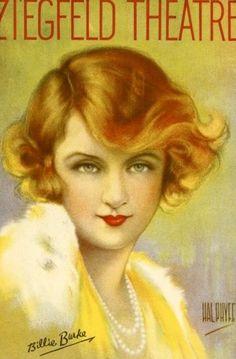 Ziegfeld Theatre program cover, c1925, featuring Billie BurkeIllustration by Hal Phyfe