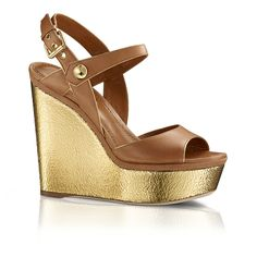 Louis Vuitton Platform Wedge Sandals -Caramel leather Louis Vuitton platform wedge sandals with tonal stitching, metallic gold-tone covered heels and platforms and buckle closure at ankle straps. Brown Wedge Sandals, Wedge Heels, High Heels, Silver Dress Shoes, Jimmy Choo, Designer Dress Shoes, Tan Brown Shoes, Shoe Boots, Shoes Sandals