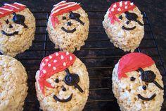 Pirate Pops whoo hoo love it! Pirate Halloween, Pirate Day, Pirate Birthday, Pirate Theme, 3rd Birthday, Pirate Snacks, Rice Crispy Treats, Krispie Treats, Holiday Snacks
