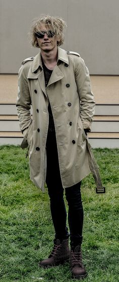 a7eaf2cbd46 British actor Jamie Campbell Bower wearing a Burberry trench coat outside  the Burberry Prorsum Menswear show in London