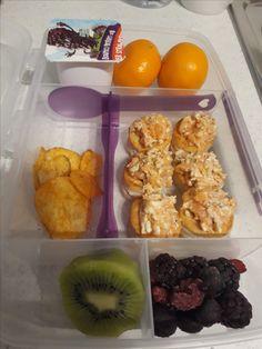Salmon and cream cheese puff pastry pockets, a few crisps,kiwi fruit, frozen berries, mandarins and yogurt.
