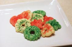 12 Days of Goodies: Spritz Cookies - Everyday Home Cook 12 Days Of Christmas, Christmas Goodies, Spritz Recipe, Colored Sugar, Spritz Cookies, Gluten Free Baking, Cookie Recipes, Raspberry, Deserts