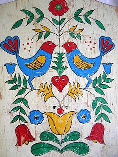 Shabby Worn Cottage Chic Amish Pennsylvania Dutch Hex Distlefink Design Bread and Cutting Board - Vintage 1950 - 1970