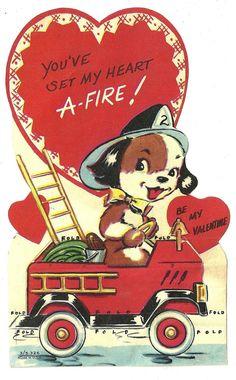 Puppy Dog Fireman on Fire Truck 034 You 039 ve Set My Heart A Fire 034 Vtg Valentine Card | eBay