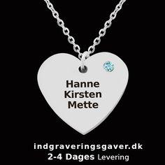 Hjertehalskæde i sølv med 3 navne