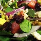 Harvest Salad - This spinach salad is adorned with blue cheese, avocado, and cranberries, then drizzled with a raspberry walnut vinaigrette....