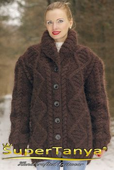 Dark brown hand knitted mohair cardigan fuzzy cable by supertanya Shawl Collar Cardigan, Brown Cardigan, Knit Cardigan, Thick Sweaters, Hand Knitted Sweaters, Women's Sweaters, Sweater Coats, Sweater Outfits, Hand Knitting
