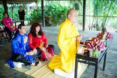Buddhist blessing during a beautiful Hoi An wedding #HoiAnEventsWeddings #BuddhistBlessing #VietnamBeachWeddings