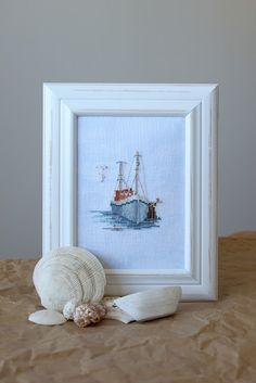 Cross Stitch Sea, Simple Cross Stitch, Wool Embroidery, Cross Stitch Embroidery, Easy Cross Stitch Patterns, Cross Stitch Finishing, Thread Art, Blue Cross, Knitting Stitches