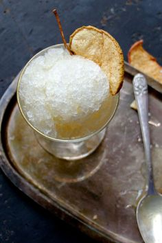 This lovely granita recipes combines white wine (they recommend chardonnay) with apple juice. Get the recipe.