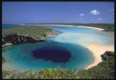 Dean's Blue Hole is the world's deepest known blue hole with seawater. It plunges 202 metres (663 ft) in a bay west of Clarence Town on Long Island, Bahamas.