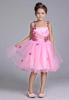 Handmade Beading Pink Wonderful Flower Girl Dresses