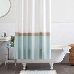 White, Tan & Turquoise Stipedd Shower Curtain l Coastal Bathrooms l www.DreamBuildersOBX.com