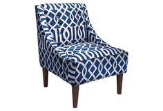 $329: McCarthy Swoop-Arm Chair, Navy/White on OneKingsLane.com