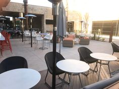 This hotel patio installed Infrared Dynamics Sunglo PSA265 patio heaters in combination with the underground vault box and deck mount.  There are no gas lines above ground- clean installation and the heaters can be removed.