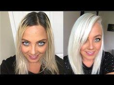 DIY dark hair to platinum blonde DIY dark hair to platinum blonde Blonde Hair At Home, Ice Blonde Hair, Dark Roots Blonde Hair, Silver Blonde Hair, Bleach Blonde Hair, Platinum Blonde Hair, Dark Hair, Dark Blonde, Toning Bleached Hair