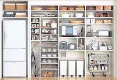 注文住宅の建て方を比較検討できる【イエノミカタ】大手ハウスメーカー9社が運営しております。どんどん進化している、住まいの収納――各住宅メーカーの提案を見てみましょう。 Kitchen Organization Pantry, Pantry Storage, Storage Shelves, Storage Spaces, Home Organization, Kitchen Storage, Kitchen Cupboard Doors, Kitchen Shelves, Kitchen Pantry