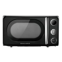The Galanz Retro Styled Microwave Oven makes cooking and reheating meals or beverages simple, quick, and convenient. This oven features a menu and adjustable power levels, time and weight defrost program and other useful functions. 700 Watt Microwave, Countertop Microwave Oven, Stainless Steel Oven, Kitchen Timers, Thing 1, Chrome Handles, Black Bedding