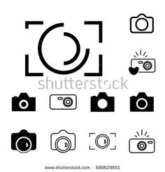 Digital Camera Icons Isolated. Snapshot Photography Sign or Logo. Instant Photo Concept