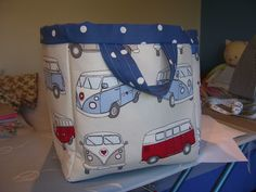 A toy bag for my grandson with fabulous VW campervan fabric.