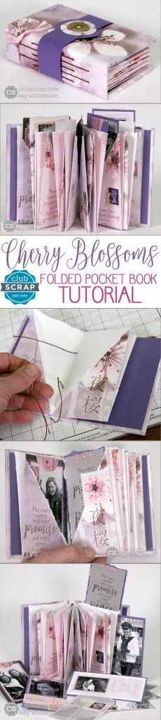Stitched Pocket Book with Club Scrap's Cherry Blossoms kit