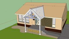 Building A Gable End Porch Cover. Tying Into Existing Roof - Building & Construction - DIY Chatroom - DIY Home Improvement Forum For my covered porch ; Front Porch Addition, Front Porch Design, Porch Designs, Front Porches, House With Porch, House Front, Veranda Design, Plans Architecture, Porch Roof
