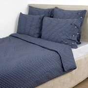 Lexington - City Blue/White Poplin Check Duvet Cover  - Single
