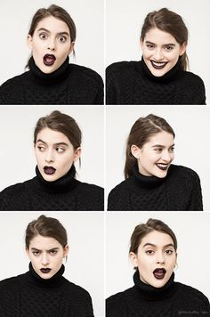 Dark lipstick, MAC make up, black turtleneck, Apiece Apart / Garance Doré
