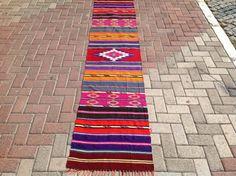 Colorful Kilim runner Vintage Turkish kilim runner by PocoVintage