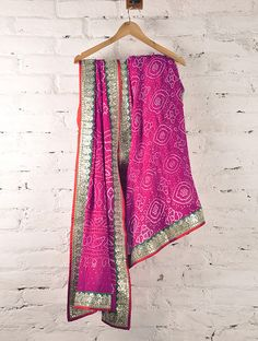 Crimson Pink Gota Patti, Mukaish & Zari Georgette Bandhani Saree By Skillful Roots at Jaypore