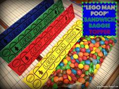 "PDF 6 1/2"" Wide Minifigure LEGO Man Poop Sandwich Snack Baggie Topper - TOY BRICKS Building Blocks"
