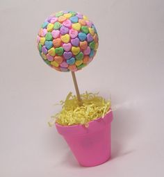 Conversation Heart Topiary - I am so making these for our valentine's day party! 3rd annual!!