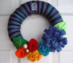 Yarn Wreath Midnight Garden 10 by AnnaHailey on Etsy, $39.00