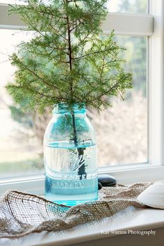 Country Christmas Tree: a cute and budget-friendly window sill decoration. Country Christmas Trees, Cottage Christmas, Noel Christmas, Merry Little Christmas, Primitive Christmas, Rustic Christmas, Simple Christmas, Winter Christmas, All Things Christmas