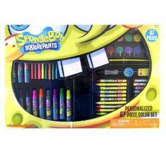 "Nickelodeon Spongebob Stationery 67pc Set - Spongebob Personalized Art Set - Spongebob Art Set by MII. $18.98. 12 Color Pencils, 12 Water Paints. 1 Small Bottle Glue, 1 Pencil Sharpener, 1 6"" Ruler, 1 Pencil. 12 Crayons, 12 Jumbo Mini Markers, 12 Oil Pastels,. 1 Paint tray, 1 Water Color Brush, 1 Eraser,. Spongebob Design 67 piece art set includes the following 12 Crayons, 12 Jumbo Mini Markers, 12 Oil Pastels, 12 Color Pencils, 12 Water Paints 1 Paint tray, 1 ..."